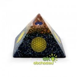 Priestorový harmonizér - pyramída s kvetom života - modrá s lapisom