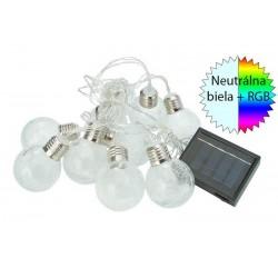 Solárna LED reťaz Cole & Bright Ice Orb 10 svietidiel Dual Power