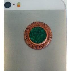 Orgonitový gombík na mobil – oko s malachitom