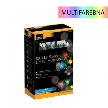 Solárna multifarebná LED reťaz Cole & Bright Dual Power 100 LED - 11,9m