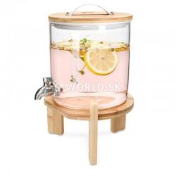 5 litrový sklenený zásobník na nápoje s kohútikom a dreveným stojanom