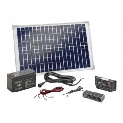 Solárna sada Esotec 120005 s USB, 20Wp modul, akumulátor a regulátor