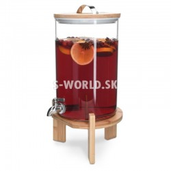 7 litrový sklenený zásobník na nápoje s kohútikom a stojanom