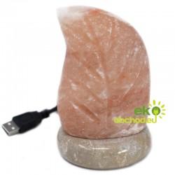 Himalájska soľná lampa s USB – list