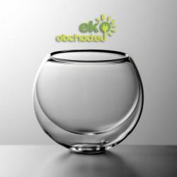 Luxusný guľatý dvojstenový pohár na nápoje BULBUS – 350ml