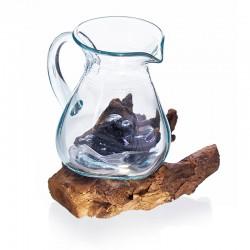Roztavené sklo na dreve – karafa / džbán na víno
