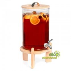 7 litrový sklenený zásobník na nápoje s kohútikom a bukovým stojanom