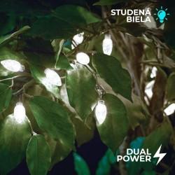 Solárna LED reťaz Cole & Bright Dual Power extra veľké 50 LED biele - 10m