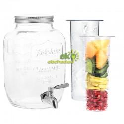 4L sklenený zásobník na nápoje s kohútikom a vložkami na ovocie / ľad