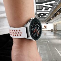 Silikónový remienok (šírka 22mm) – bielo-ružová – Samsung Gear S3 / Watch 46mm / Huawei Watch GT / Vantage M / Watch 3 45mm