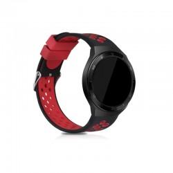 Silikónový remienok (šírka 22mm) – čierno-červená – Samsung Gear S3 / Watch 46mm / Huawei Watch GT / Vantage M / Watch 3 45mm