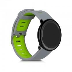 Silikónový remienok (šírka 22mm) – šedo-zelená – Samsung Gear S3 / Watch 46mm / Huawei Watch GT / Vantage M / Watch 3 45mm