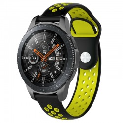 Silikónový remienok (šírka 22mm) – čierno-zelená – Huawei Watch GT / GT2 / Samsung Watch 46mm / Gear S3 / Vivoactive 4