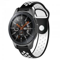 Silikónový remienok (šírka 22mm) – čierno-biela – Huawei Watch GT / GT2 / Samsung Watch 46mm / Gear S3 / Vivoactive 4