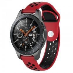 Silikónový remienok (šírka 22mm) – červeno-čierna – Huawei Watch GT / GT2 / Samsung Watch 46mm / Gear S3 / Vivoactive 4