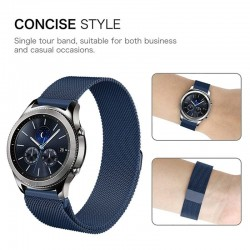 Kovový remienok (šírka 22mm) – Magnetic modrá – Samsung Gear S3 / Watch 46mm / Huawei Watch GT / Vantage M / Vivoactive 4