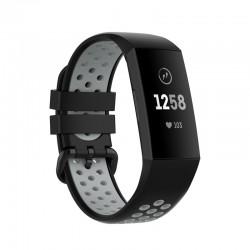 Silikónový remienok Fitbit Charge 3 / 4 – Perforated – čierno-šedá