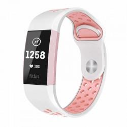 Silikónový remienok Fitbit Charge 3 / 4 – Perforated – bielo-ružová