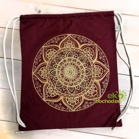 Vak cez ramená s ručne maľovaným vzorom – Mandala zlato-žltá