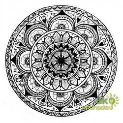 Dekoratívna samolepka - Mandala Kvet - čierna