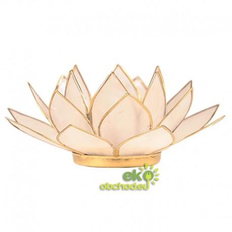 Svietnik Lotosový kvet 13,5cm – zlaté lemovanie