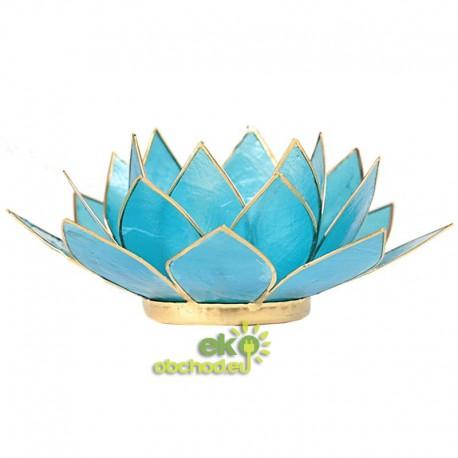 Svietnik Lotosový kvet 5 čakra 13,5cm – svetlo-modrý