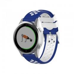 Silikónový remienok (šírka 20mm) – modro-biela – Huawei Watch GT2 (42mm) / Samsung Watch 3 41mm