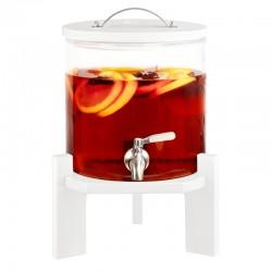 5 litrový sklenený zásobník na nápoje s kohútikom a bukovým stojanom – biela