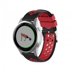 Silikónový remienok (šírka 20mm) – čierno-červená – Samsung Watch 3 41mm