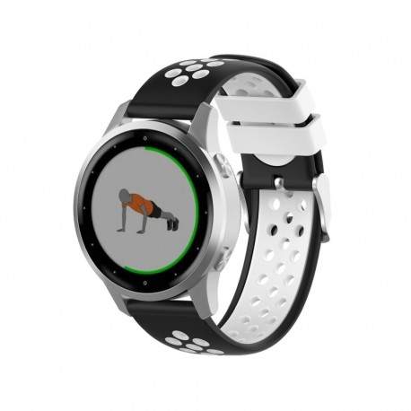 Silikónový remienok (šírka 20mm) – čierno-biela - Samsung Galaxy Watch Active 2 40mm (SM-R830)