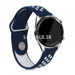 Silikónový remienok (šírka 22mm) – Tip – modro-biela – Samsung Gear S3