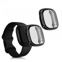 Silikónový obal Fitbit Versa 3 / Sense – čierna (2ks)