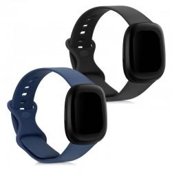 Silikónový remienok Fitbit Versa 3 / Sense – sada 2ks (čierna,modrá)