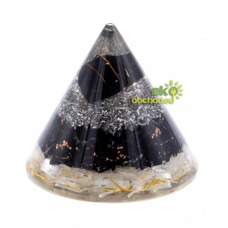 Orgonitový kužeľ - Selenitová a čierna turmalínová meď - 90 mm
