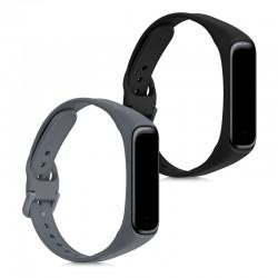 Silikónový remienok Samsung Galaxy Fit2 (SM-R220) – sada 2ks (čierna,šedá)