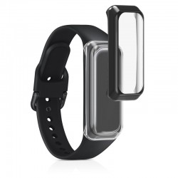 Silikónový obal Samsung Galaxy Fit 2 (SM-R220) – priehľadná / čierna (2ks)