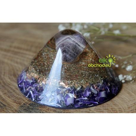 KUŽEĽ široký s ametystom chevron – fialový